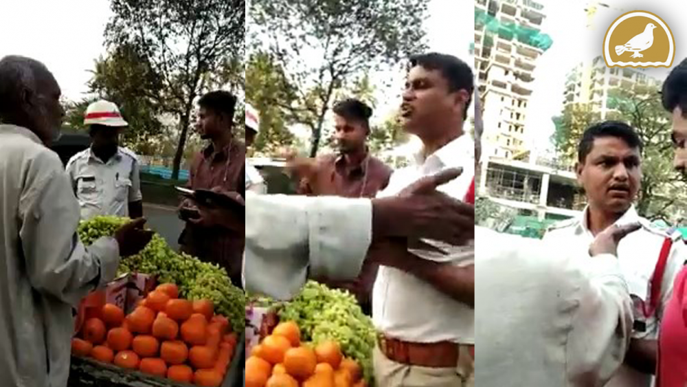 Hyderabad Traffic police misbehaves with Fruit Vendor at Shaikpet Road