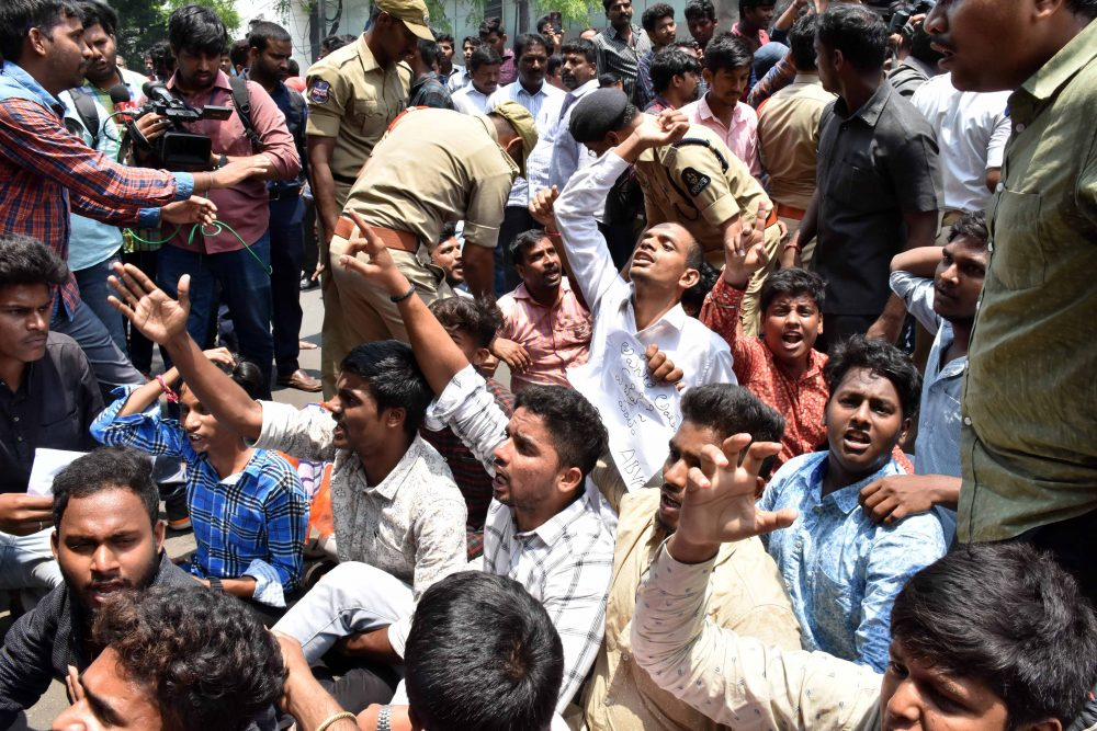 Protest over Telangana intermediate board fiasco